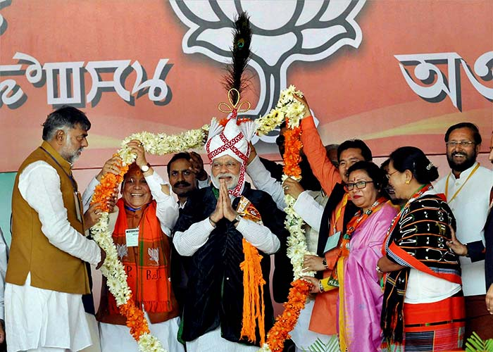 PM Modi along with senior BJP leaders at an election rally at Langjing Achouba ground, Imphal West on Saturday.