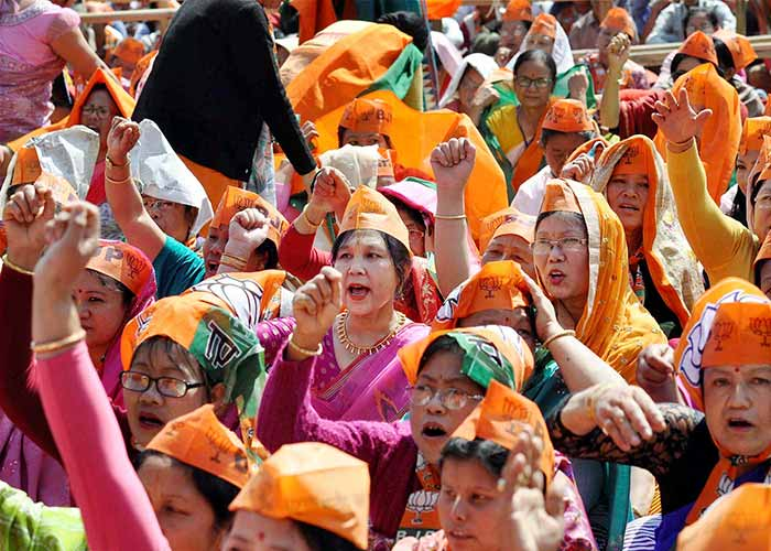 BJP supporters at an election rally of Prime Minister Narendra Modi at Langjing Achouba ground, Imphal West on Saturday