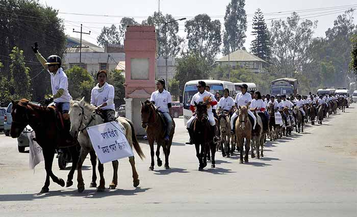 Days ahead of the elections, pony lovers take in a rally to spread awareness among people on voting in Imphal on Sunday.
