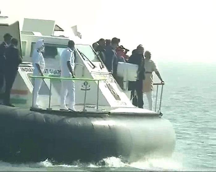 On Hovercraft, PM Modi Performs Jal Pujan For Rs 3,600 Crore Shivaji Memorial