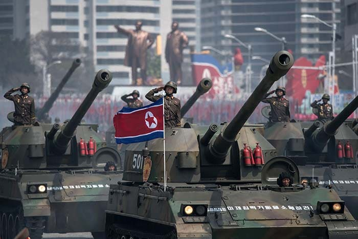 Korean People's Army (KPA) tanks are displayed during a military parade marking the 105th anniversary of the birth of late North Korean leader Kim Il-Sung in Pyongyang on April 15, 2017. (AFP)