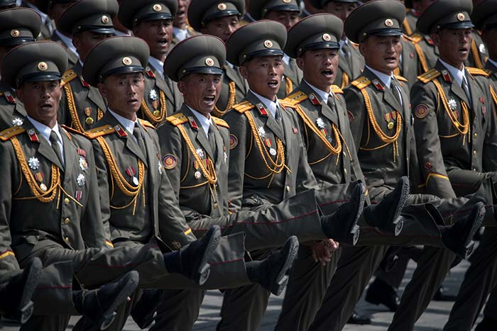 Ranks of goose-stepping soldiers followed by tanks and other military hardware paraded in Pyongyang for a show of strength with tensions mounting over his nuclear ambitions. (AFP)