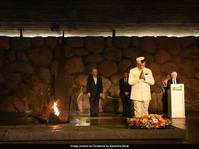 PM Modi pays respect to the victims of the holocaust at the memorial Yad Vashem.