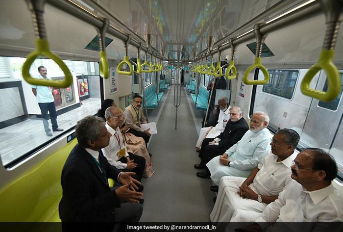 PM Modi took a ride on the metro along with Kerala Chief Minister Pinarayi Vijayan, union minister Venkaiah Naidu and Kerala Governor P Sathasivam among other dignitaries.