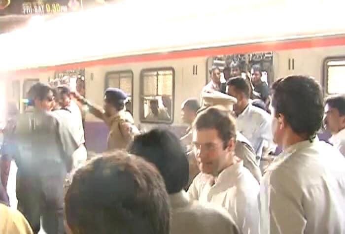 Rahul Gandhi in Mumbai, city on edge