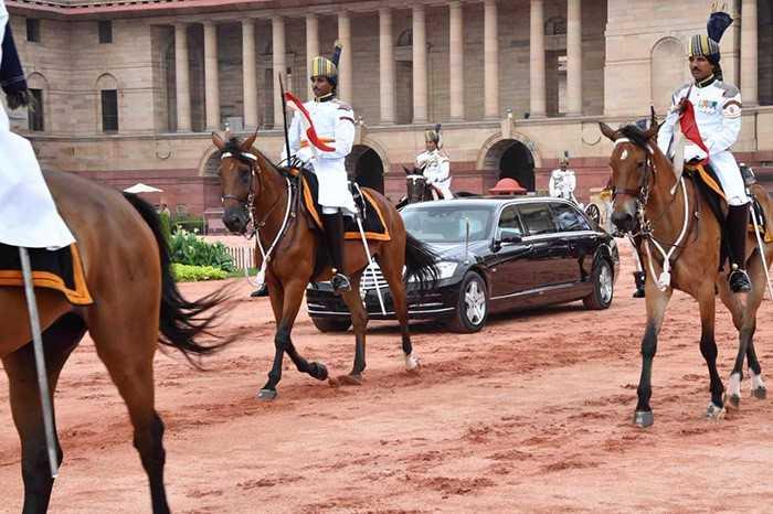 President Ram Nath Kovind leaves for the parliament with Pranab Mukherjee
