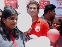 Photo : Sachin at Support My School campaign