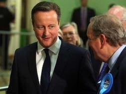 Photo : Counting On in UK Election: Exit Polls Show David Cameron's Conservaties Ahead of Labour Party