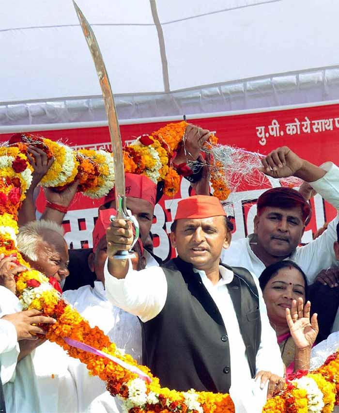 Uttar Pradesh Chief Minister Akhilesh Yadav addresses his supporters in UP's Gorakhpur district.