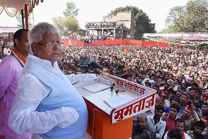 RJD chief Laloo Prasad Yadav at an election campaign rally in UP's Gabhiran village.