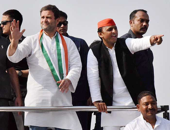Samajwadi Party president and Chief Minister Akhilesh Yadav is seeking a second successive term in office after stitching an alliance with Congress. (PTI Photo)