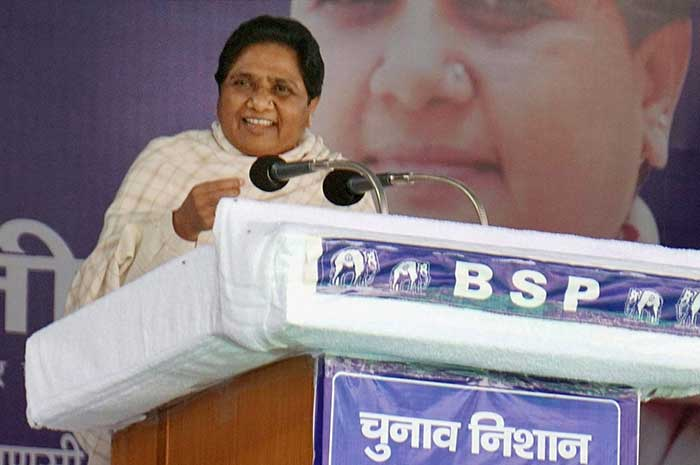 BSP chief Mayawati at an election rally in Varanasi on Saturday. (PTI Photo)