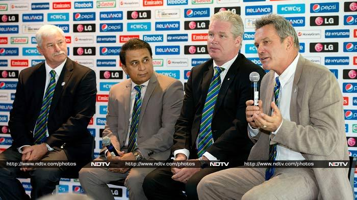 Former cricketers were also present at the event held in Wellington.<br><br>Seen here are (left to right): Sir Richard Hadley (NZ), Sunil Gavaskar (IND), Dean Jones (AUST) and Martin Crowe (NZ).
