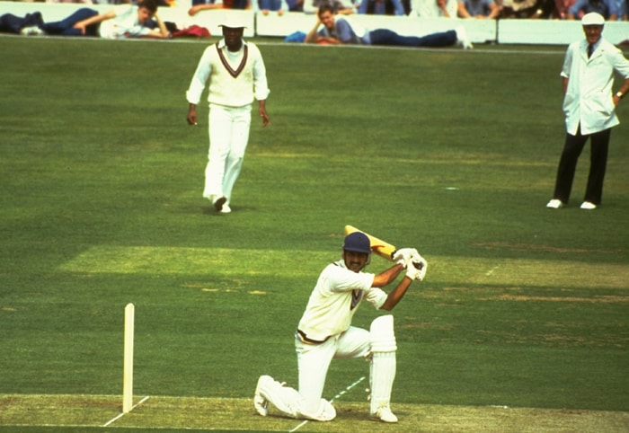 The West Indies bowlers were fast and aggressive, qualities which persisted throughout the innings. Srikkant showed some intent; getting eight balls past the boundary including one six which was crucial to the Indian batting which finally succumbed to a total of 183 after some resilience from the tail-enders. (Photo: Getty Images)