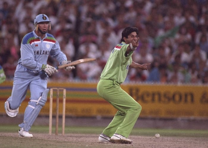 Neil Fairbrother top-scored for England with 62 runs as left-arm paceman Akram grabbed three wickets to dismiss England for 227 and become World Cup Champions. (Photo: Getty Images)