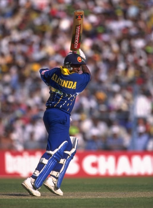 Australia dismissed the Sri Lankan openers cheaply, but Aravinda received valuable support from Asanka Gurusinha (65) and Ranatunga (47 not out) to steer his team home. (Photo: Getty Images)