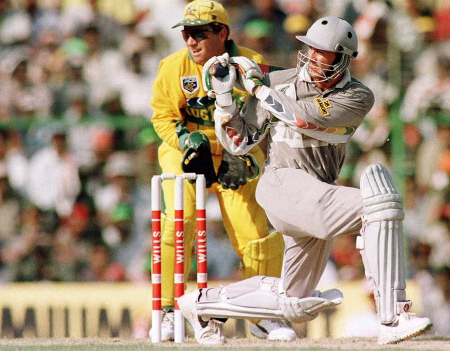 New Zealand threatened Australia when they rode on Chris Harris's century to post a challenging 286. But Australian Mark Waugh made his third hundred of the tournament at the right time to script his team's victory. (Photo: Getty Images)