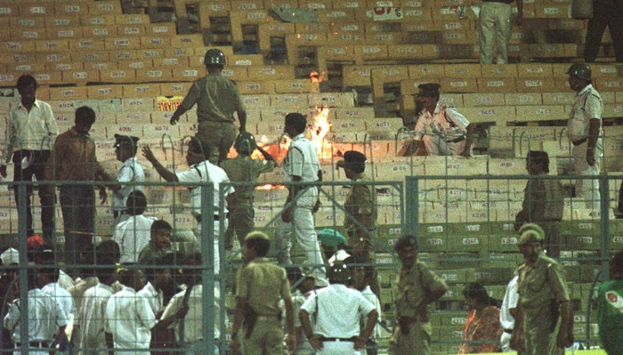 The spectators, annoyed with the hosts' dismal batting show, threw missiles on to the field and lit fires in the stands, forcing match-referee Clive Lloyd of the West Indies to award the game to Sri Lanka. <br><br> India had lost not only a game of cricket, but also much of their reputation as a sporting nation because that was the first match in the World Cup history to be abandoned due to riots. (Photo: Getty Images)