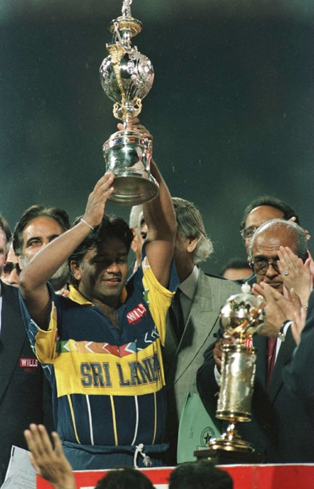 With the World Cup coming back to the sub-continent, the excitement amongst the three participating Asian countries was stupendous. The stadia were jam-packed to their capacity and none of the intrusions could prevent the island nation of Sri Lanka to claim the title. <br><br> The 1996 World Cup in the sub-continent will be remembered as much for Sri Lanka's victory with bold and innovative batting tactics as for boycotts and riots. <br><br>Arjuna Ranatunga's Sri Lankans celebrated when Aravinda de Silva cracked a classy hundred to steer his team to a seven-wicket victory over Mark Taylor's Australians in the day-night final at Lahore. (Photo: Getty Images)
