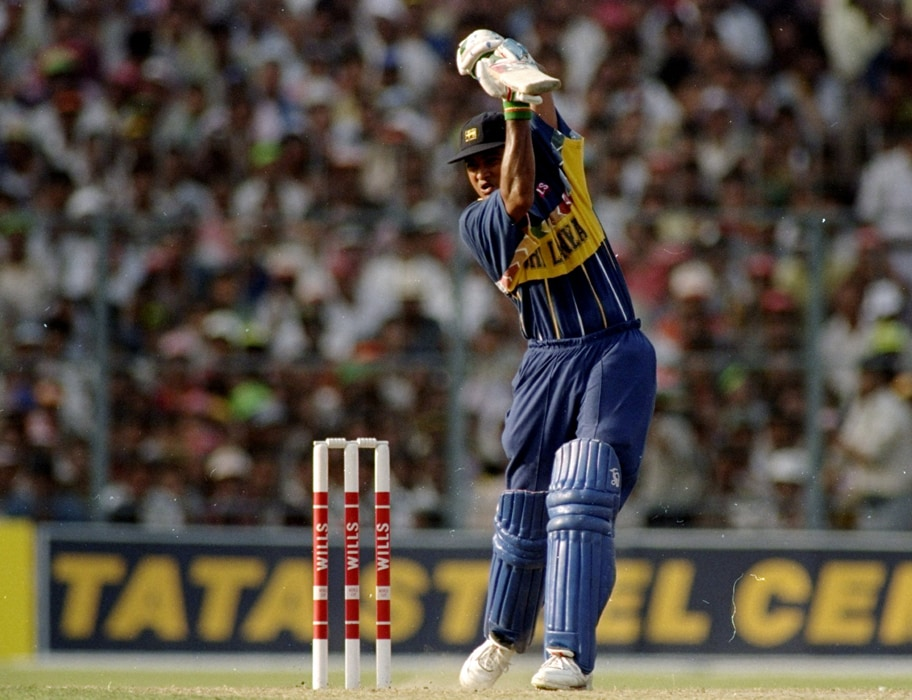 Sri Lanka made the most of the 15-overs fielding restrictions, thanks to openers Sanath Jayasuriya and Romesh Kaluwitharana who demoralised the opposition with over-the-top hitting. <br><br> The tactics stood Sri Lanka in good stead and Jayasuriya was named man of the tournament for redefining batting in the opening 15 overs. Jayasuriya slammed a blazing 44-ball 82 in the first quarter-final to help his team beat Mike Atherton's Englishmen at Faisalabad, only the first time England had failed to reach the semi-finals. Photo: Getty Images)