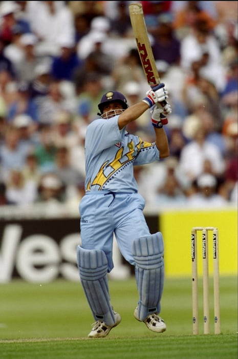 India broke the monotony of low-scoring games, with Sourav Ganguly and Rahul Dravid adding a record 318 against Sri Lanka. Dravid and Sachin Tendulkar also put on 237 for the third wicket against Kenya. (Photo: Getty Images)