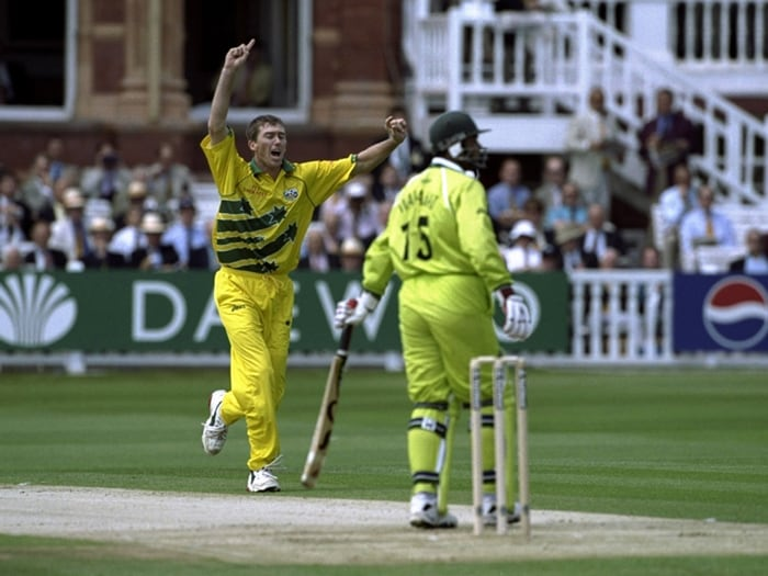 The final was an anti-climax, with Australia thrashing Pakistan by eight wickets. Leg-spin magician Shane Warne grabbed four wickets in what turned out to be his last World Cup match. (Photo: Getty Images)