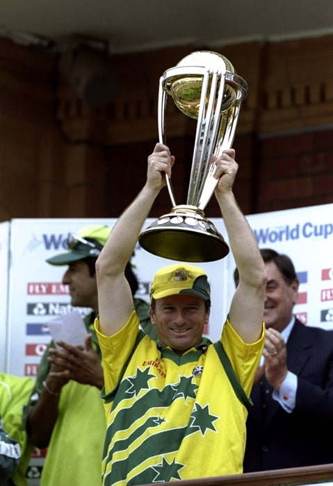 "Steve Waugh's Australians held their nerve in testing conditions to lift the 1999 World Cup in England, while South Africa continued to wrestle with their fate. <br><br> Steve Waugh said the ""inner strength"" was the key to his team's success after a struggling start. Australia had lost two of their first three matches before winning six out of their next seven matches along with the famous tie in the Semi-Finals.<br><br> The 1996 format of playing quarter-finals straight after the group games was abandoned. Twelve teams were now divided into two groups, with the top three advancing to the Super Six. Each Super Six side carried forward the points gained from matches played against fellow-group qualifiers. (Photo: Getty Images)"