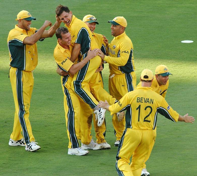 Australia marched on relentlessly despite losing Warne and then in-form paceman Jason Gillespie to an injury after early matches. They survived a few anxious batting moments before beating Sri Lanka in the semi-final.