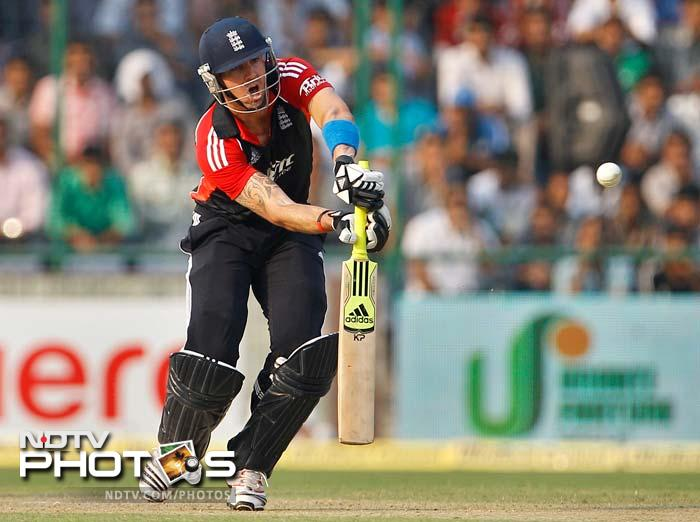 Kevin Pietersen top-scored for England with a fluent 46 runs. He hit three boundaries and two sixes in his innings.