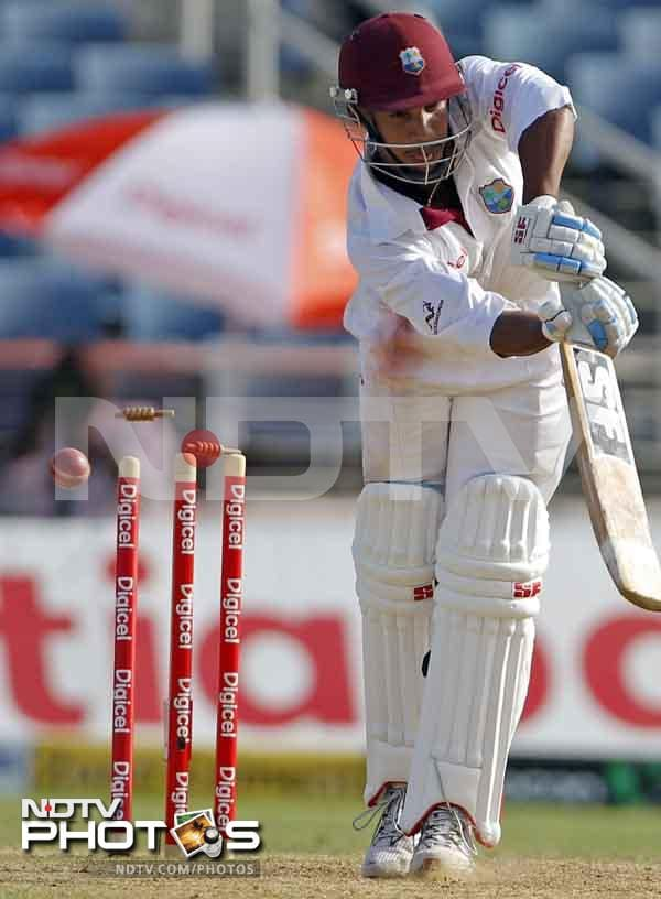 In reply, the West Indies batsmen were no better off as the hosts lost three wickets to end the day 171 runs behind. Ishant Sharma, Praveen Kumar and Abhimanyu Mithun picked a wicket each.