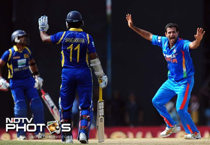 The third blow for Sri Lanka also came early as Irfan Pathan trapped Dinesh Chandimal before the wicket.