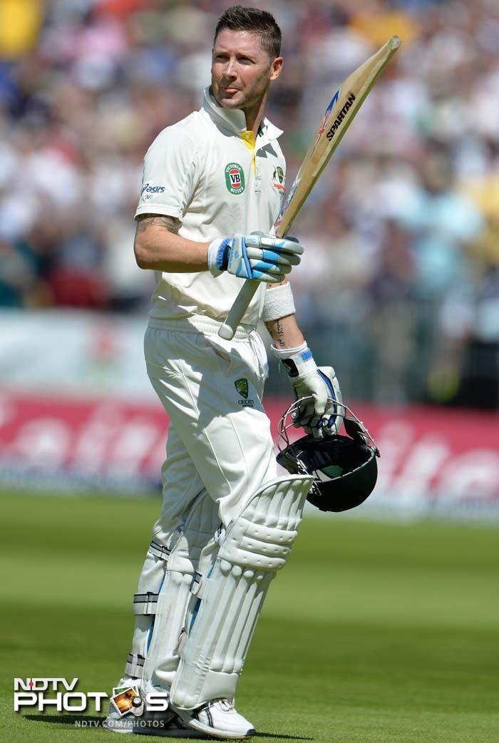 Australia captain Michael Clarke made 187, his highest Test innings against England. All AFP and AP images