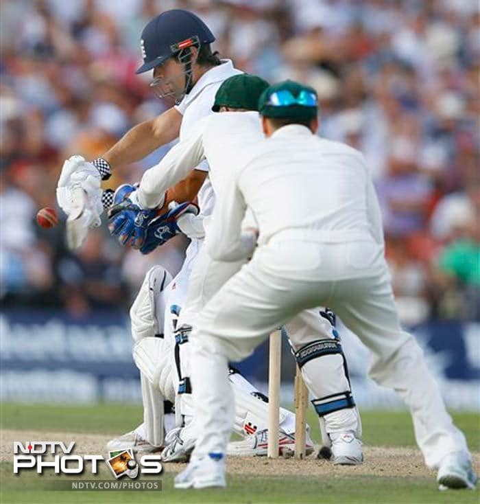 Alastair Cook was dropped on 15 by Brad Haddin. He stayed not out on 36 at the end of second day's play.