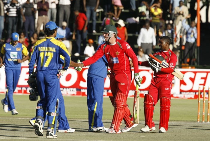 Zimbabwean batsman Brendan Taylor and Tatenda Taibu is being congratulated by Sri Lankan players after winning in the sixth ODI of the Micromax Cup in Harare. Taylor was 119 runs not out leading Zimbabwe to win by 8 wickets. (AFP Photo)