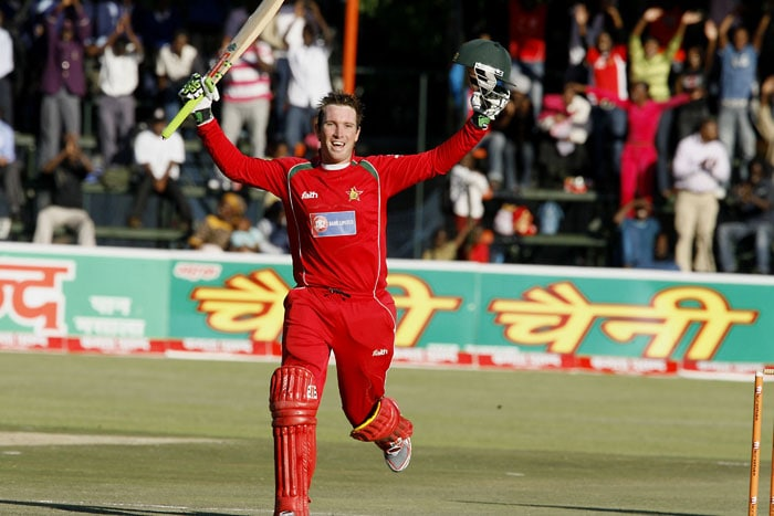 Zimbabwe batsman Brendan Taylor celebrates after his century against Sri Lanka in the sixth ODI of the Micromax Cup in Harare. (AFP Photo)