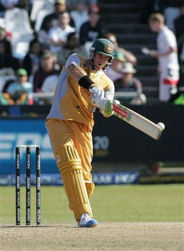 Australia's Matthew Hayden plays a stroke during World Twenty 20 cricket Championships against Bangladesh at Newlands in Cape Town, South Africa, Sunday, Sept. 16, 2007.
