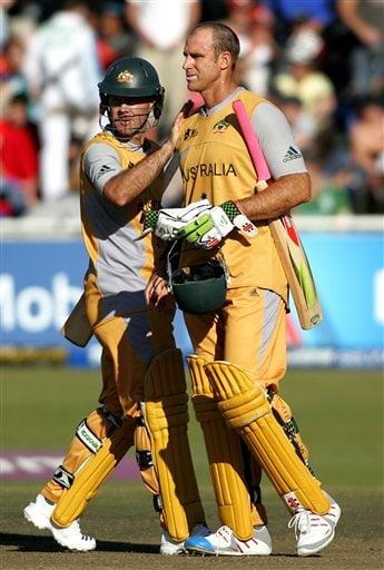 Australia's Matthew Hayden, right, is congratulated by his captain Ricky Ponting, left, after winning a match against Bangladesh during World Twenty 20 cricket Championships at Newlands in Cape Town, South Africa, Sunday, Sep. 16, 2007.