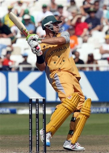 Australia's Matthew Hayden drives the ball during their Twenty20 cricket match against Sri Lanka in Cape Town, South Africa, Thursday, Sept. 20, 2007.