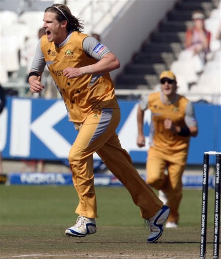 Australia's Natham Bracken, celebrates a wicket during their Twenty20 cricket match against Sri Lanka in Cape Town, South Africa, Thursday, Sept. 20, 2007.