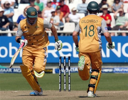 Australia's Matthew Hayden and Adam Gilchrist, make a run during their Twenty20 cricket match against Sri Lanka in Cape Town, South Africa, Thursday, Sept. 20, 2007.