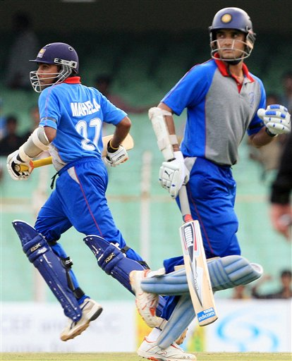 Asia XI cricketers Sourav Ganguly, right, and Mahela Jayawardane run between the wickets during the second One-Day international Afro-Asia cricket match against Africa XI, in Chennai, India, Saturday, June 9, 2007.