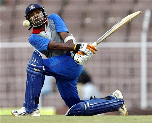 Asia XI skipper Mahela Jayawardene plays a shot against Africa XI during the third and final One-Day cricket match of the Afro-Asia Cup in Chennai, India, Sunday, June 10, 2007. Jayawardene and Mahendra Dhoni posted aggressive centuries to lift Asia XI to 331 for eight after a top-order slump on Sunday.