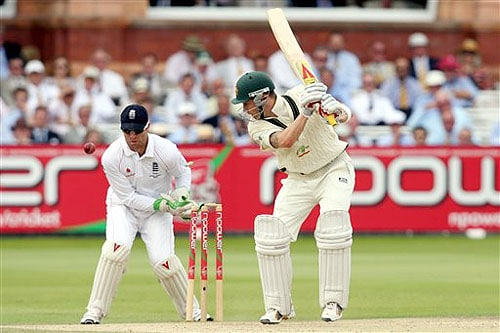 Australia's Michael Clarke is bowled out by England's Graeme Swann during the fifth day of the second Ashes Test at Lord's cricket ground in London on Monday. (AP Photo)
