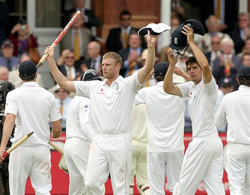 England's Andrew Flintoff waves to the crowd after their 115 run victory over Australia on the fifth day of the second Ashes Test at Lord's cricket ground in London on Monday. (AP Photo)
