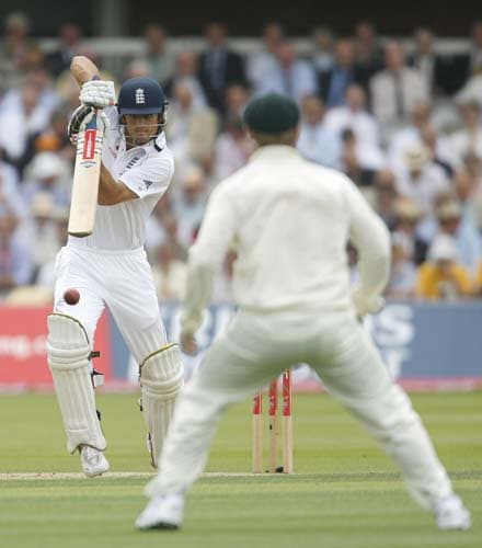 Alastair Cook plays a shot against Australia during the first day of the second Ashes Test at Lord's. (AFP Photo)