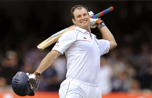 Andrew Strauss celebrates scoring his century against Australia during the first day of the second Ashes Test at Lord's. (AFP Photo)