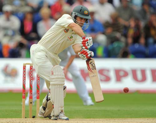 Simon Katich scores runs during the second day of the first Ashes Test in Cardiff. (AFP Photo)