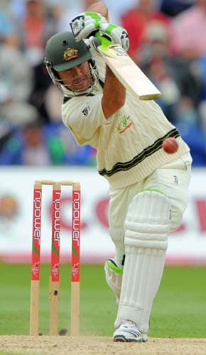 Ricky Ponting scores runs during the second day of the first Ashes Test in Cardiff. (AFP Photo)