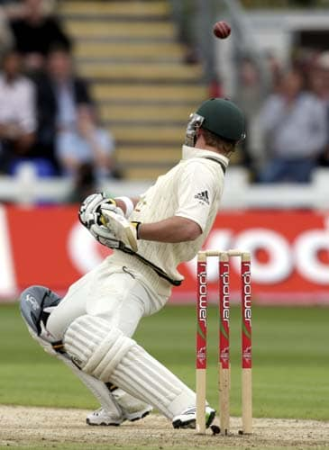 Simon Kaitch avoids a short ball from England's Andrew Flintoff during the second day of the first Ashes Test in Cardiff. (AP Photo)