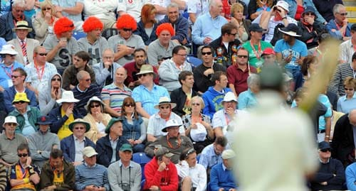 Cricket fans watch the action between England and Australia during the second day of the first Ashes Test in Cardiff. (AFP Photo)